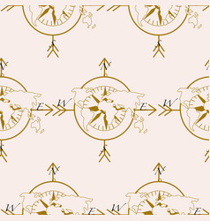 pattern design with compass and earth vector image
