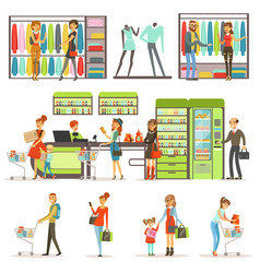 people buying grocery products and clothes in the vector image