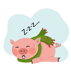 pig sleep vector image