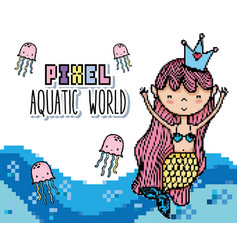 Pixel art aquatic world cartoons vector
