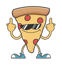 pizza slice with sunglasses giving middle vector image