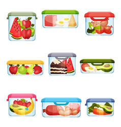 Plastic and glass containers with different food vector