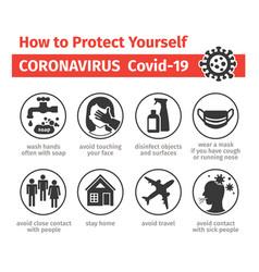 Prevention coronovirus covid-19 how to vector