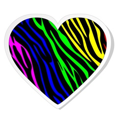 Rainbow zebra heart sticker vector image