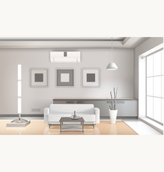 Realistic living room interior light tones vector