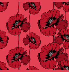 red poppies hand drawn seamless ink pen pattern vector image