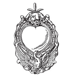 renaissance strap-work frame was made from bronze vector image
