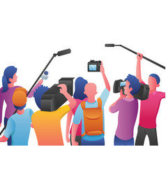 reporters on white vector image