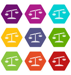 retro scales icon set color hexahedron vector image