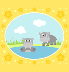 safari background card with hippopotamus vector image