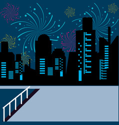 scene cityscape with fireworks vector image