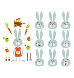 Set cute cartoon rabbit with various emotions vector