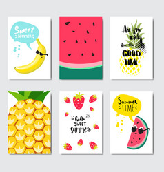 set exotic fruits badge isolated typographic vector image