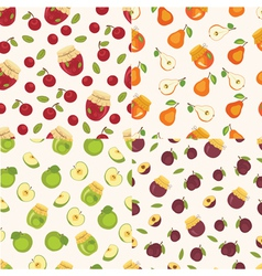 set fruit seamless patterns vector image
