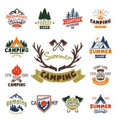 Set vintage woods camp badges and travel logo vector