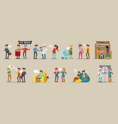 Smoking people collection vector