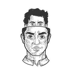 split personality metaphor sketch vector image