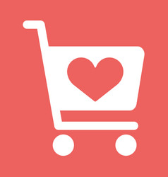 Store cart icon with shape of the heart vector