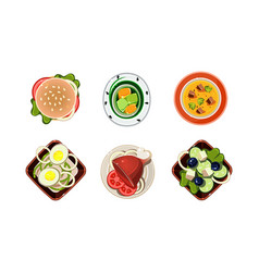 tasty healthy dishes set dinner table top view vector image