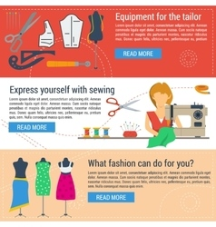 Three banners sewing and tailoring vector