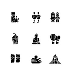 Traditional taiwanese black glyph icons set vector