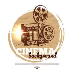 Vintage movie cinema banner with hand drawn sketch vector