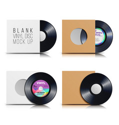 vinyl disc set blank isolated white background vector image
