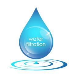 water drop filtration symbol vector image