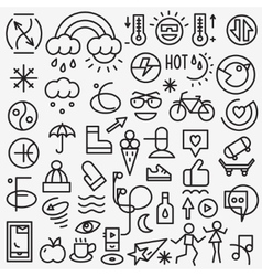 weather summer - set thin line icons vector image