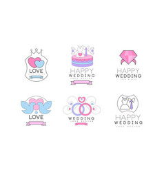 wedding and love logo design with dove engagement vector image