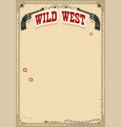 Wild west poster background with revolvers and vector