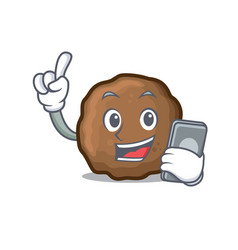 With phone meatball character cartoon style vector