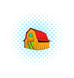 Wooden barn icon comics style vector