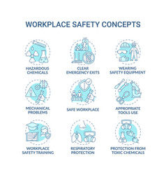 Workplace safety concept icons set vector