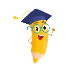 Yellow cartoon pencil with in graduation cap vector