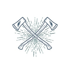 Crossed Axes with sunburst t-shirt print vector image vector image