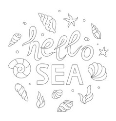 hello sea lettering adult coloring page vector image vector image