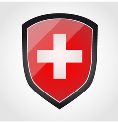 Shield with flag inside - swiss - vector