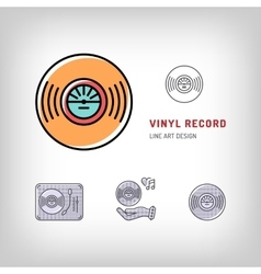 Vinyl record isolated line art icon Modern vector image