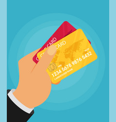 Hand holding credit card flat vector