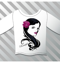 Shirt with a graphic beautiful girl vector image vector image
