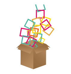 brown box opened with colored square icon vector image vector image