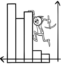 businessman on chart cartoon vector image vector image