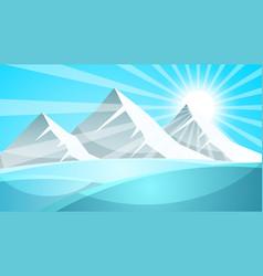 cartoon snow landscape sun snow fir vector image vector image