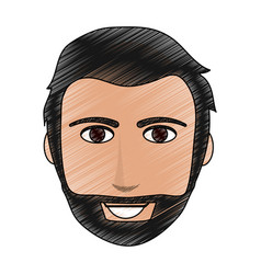 color pencil cartoon front face man with beard and vector image vector image