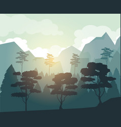colorful background with dawn landscape with vector image