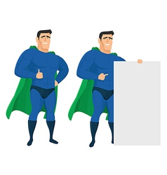 Funny superhero mascot in different poses vector image vector image