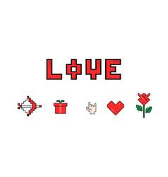 happy valentines day 8 bit pixel love message vector image vector image