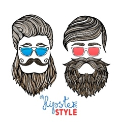 Hipsters heads colored glasses doodle pictograms vector image