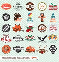 Mixed Holiday Labels vector image vector image